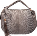 "Luxury Accessories:Bags, Gucci Gray Python Shoulder Bag. Very Good Condition. 20""Width x 15"" Height x 4"" Depth. ..."