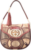 "Luxury Accessories:Bags, Gucci Burgundy & Beige Snakeskin Shoulder Bag. Very Good toExcellent Condition. 13.5"" Width x 11"" Height x 1""Depth..."