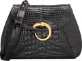 """Luxury Accessories:Bags, Cartier Black Crocodile Shoulder Bag. Very Good to ExcellentCondition. 9"""" Width x _"""" Height x 2.5"""" Depth. ..."""