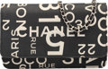 """Luxury Accessories:Bags, Chanel Black and White Canvas Wallet on Chain with Silver Hardware.Very Good Condition. 7.5"""" Width x 5"""" Height x 1"""" D..."""