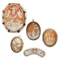Estate Jewelry:Cameos, Shell Cameo, Marcasite, Gold, Silver, Base Metal Jewelry. ...(Total: 5 Items)