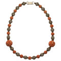 Estate Jewelry:Necklaces, Coral, Vermeil Necklace. . ...