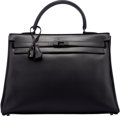 Luxury Accessories:Bags, Hermes Limited Edition 35cm So Black Calf Box Leather Retourne Kelly Bag with PVD Hardware. N Square, 2010. Very Good ...