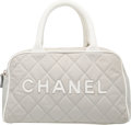 "Luxury Accessories:Bags, Chanel Gray & White Quilted Canvas Bowler Bag with SilverHardware. Very Good to Excellent Condition. 10.5"" Width x6""..."