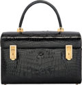 "Luxury Accessories:Travel/Trunks, Revlon Shiny Black Crocodile Train Case. Very GoodCondition. 12.5"" Width x 8"" Height x 8.5"" Depth. ..."