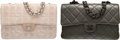 Luxury Accessories:Accessories, Set of Two: Chanel Tan Quilted Fabric Medium Single Flap Bag with Silver Hardware and Chanel Dark Green Quilted Lambskin Flap ... (Total: 2 )