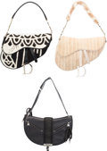 Luxury Accessories:Bags, Christian Dior Set of Three; Beige Eel, Black and White Satin &Black Leather Saddle Bags. Very Good to Excellent Conditio...(Total: 3 )