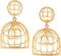 "Luxury Accessories:Accessories, Chanel Gold Birdcage Clip Earrings. Excellent Condition.2.5"" Length x 1.5"" Width. ..."