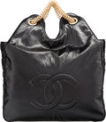 "Luxury Accessories:Bags, Chanel Black Distressed Patent Leather Tote Bag with Gold Hardware.Very Good to Excellent Condition. 14"" Width x 15"" Heig..."