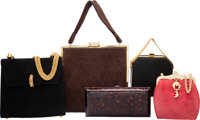 Set of Five; Kieselstein Cord, Paloma Picasso, VBH & Norell Suede Evening Bags Good Condition Var