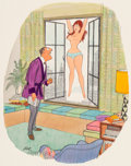 "Mainstream Illustration, Dink Siegel (American, 1910-2003). ""Wow! You Look Great withoutMakeup, Miss!,"" Playboy cartoon, July 1964. Watercolor a..."