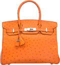 "Luxury Accessories:Bags, Hermes 30cm Tangerine Ostrich Birkin Bag with Palladium Hardware.F Square, 2002. Good Condition. 12"" Width x 8""H..."