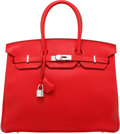 "Luxury Accessories:Bags, Hermes 35cm Rouge Casaque Clemence Leather Birkin Bag withPalladium Hardware. R Square, 2014. Excellent Condition. 14""Wi..."