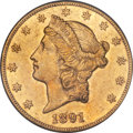 Liberty Double Eagles, 1891-CC $20 XF40 PCGS. Variety 1-A....