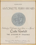 "Music Memorabilia:Awards, Linda Ronstadt -- An Antoinette Perry [""Tony""] NominationCertificate for ""The Pirates of Penzance"" (1980-1981)...."