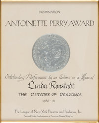 """Linda Ronstadt -- An Antoinette Perry [""""Tony""""] Nomination Certificate for """"The Pirates of Penzance""""..."""