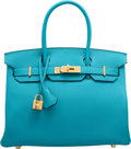 "Luxury Accessories:Bags, Hermes 30cm Turquoise Togo Leather Birkin Bag with Gold Hardware . R Square, 2014 . Pristine Condition . 12"" Width..."