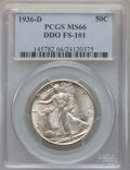 Walking Liberty Half Dollars, 1936-D 50C Doubled Die Obverse, FS-101, MS66 PCGS. PCGS Population: (10/2). MS66. ...