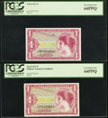 Military Payment Certificates:Series 641, Series 641 $1 PCGS Two Examples Very Choice New 64PPQ.. ... (Total:2 notes)