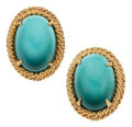 Estate Jewelry:Earrings, Turquoise, Gold Earrings, David Webb. ... (Total: 2 Items)