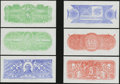 Confederate Notes:Group Lots, Set of Six Chemicograph Backs Intended for Confederate PaperMoney.. ... (Total: 6 notes)