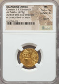 Ancients:Byzantine, Ancients: Constans II & Constantine IV (654-668). AV solidus(4.29 gm). NGC MS 5/5 - 4/5, clipped....