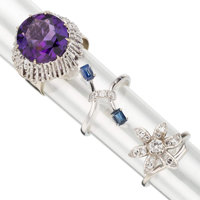 Diamond, Amethyst, White Gold Rings