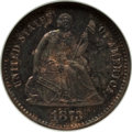 Proof Seated Half Dimes: , 1873 H10C PR64 NGC. NGC Census: (62/71). PCGS Population (73/58). Mintage: 600. CDN Wsl. Price for problem free NGC/PCGS co...