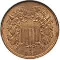 Two Cent Pieces: , 1865 2C MS65 Red NGC. NGC Census: (95/26). PCGS Population (205/48). Mintage: 13,640,000. CDN Wsl. Price for problem free N...