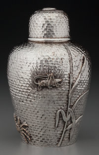 A Kennard & Jenks Japanesque Silver Tea Caddy, Boston, Massachusetts, circa 1876-1880 Marks: (logotype), STERLI...