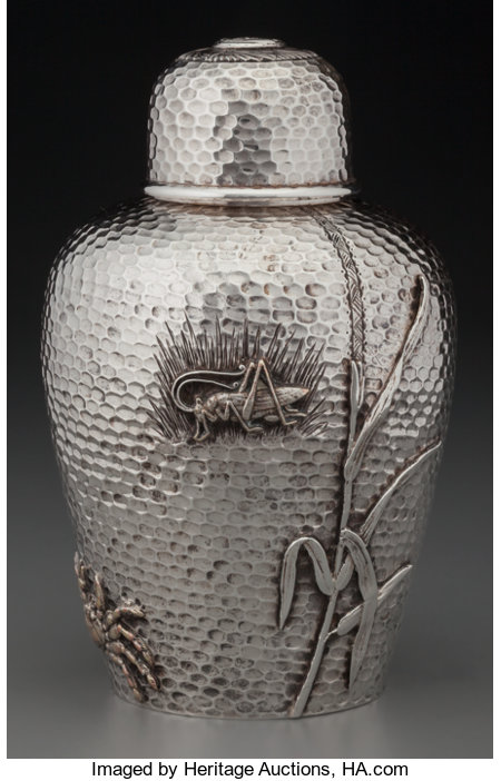 A Kennard & Jenks Japanesque Silver Tea Caddy, Boston, Massachusetts, circa 1876-1880Marks: (logotype), STERLING, K, 309...