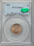 1861 1C MS64 PCGS. CAC. PCGS Population (458/319). NGC Census: (294/188). Mintage: 10,100,000. CDN Wsl. Price for proble...