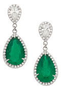 Estate Jewelry:Earrings, Colombian Emerald, Diamond, Platinum Earrings. ... (Total: 2 Items)