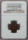 Errors, 1972-D 5C Jefferson Nickel -- Struck on a Cent Planchet -- MS65 Brown NGC. 3.13 Grams. Ex: New England Collection....