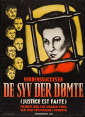 "Movie Posters:Foreign, Justice is Done (Skandinavisk Film, 1951). Danish Poster (24.25"" X 33.5""). Foreign.. ..."