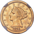 1843-C $2 1/2 Small Date, Crosslet 4 -- Improperly Cleaned -- NGC Details. XF. Variety 1....(PCGS# 7729)