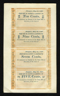 Obsoletes By State:Rhode Island, Newport, CT- (W.C. Cozzens & Co.) 10¢-9¢-7¢-5¢ May 15, 1837 Uncut Sheet. ...