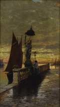Fine Art - Painting, European:Antique  (Pre 1900), HERMANN DAVID SALOMON CORRODI (Italian 1844-1905). Prayer atDusk, Venice. Oil on canvas. 19-3/4 x 11 inches (50.2 x 27....