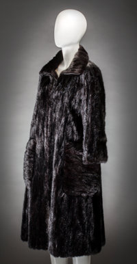 Shirley Temple Black - Pierre Cardin Full-Length Black Fur Coat with Monogram.  A beautiful full-length fur coa