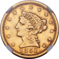 Liberty Quarter Eagles, 1851-C $2 1/2 AU53 NGC. Variety 1....