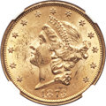 Liberty Double Eagles, 1873 $20 Open 3 MS62+ NGC. CAC....