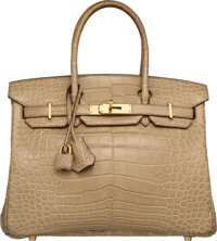 Hermes 30cm Matte Poussiere Alligator Birkin Bag with Gold Hardware M Square, 2009 Excellent Condition 12