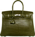 Luxury Accessories:Bags, Hermes 35cm Shiny Vert Canopee Porosus Crocodile Birkin Bag withPalladium Hardware. O Square, 2011. ExcellentConditi...