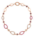Estate Jewelry:Necklaces, Diamond, Pink Sapphire, Amethyst, Pink Gold Necklace. ...