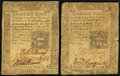 Colonial Notes:Pennsylvania, Pennsylvania October 25, 1775 18d Two Examples. . ... (Total: 2notes)