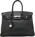 Luxury Accessories:Bags, Hermes 35cm Black Vache Trekking Leather Birkin Bag with Palladium Hardware. N Square, 2010. Very Good Condition. ...
