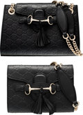 """Luxury Accessories:Bags, Gucci Set of Two; Black Guccissima Leather Horsebit Shoulder Bags.Pristine Condition. 10"""" Width x 7"""" Height x 3"""" Dept...(Total: 2 Items)"""
