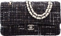 Chanel Navy Blue & White Tweed Boucle Medium Double Flap Bag with Silver Hardware Very Good Condition