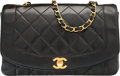"Luxury Accessories:Bags, Chanel Black Quilted Lambskin Leather Diana Flap Bag with GoldHardware . Excellent Condition. 10"" Width x 6"" Height x 3""..."