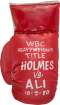 Boxing Collectibles:Autographs, 1980 Muhammad Ali vs. Larry Holmes Oil on Boxing Glove by SteveKaufman....